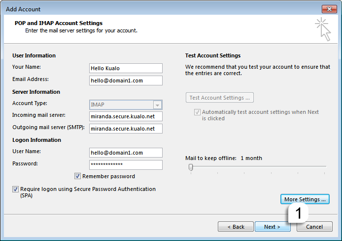 How to configure a secure IMAP E-Mail Account in Outlook 2016