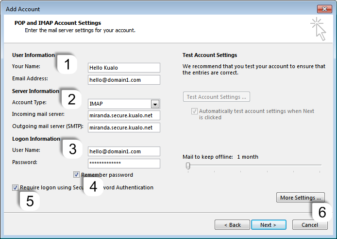 How to configure a secure IMAP E-Mail Account in Outlook