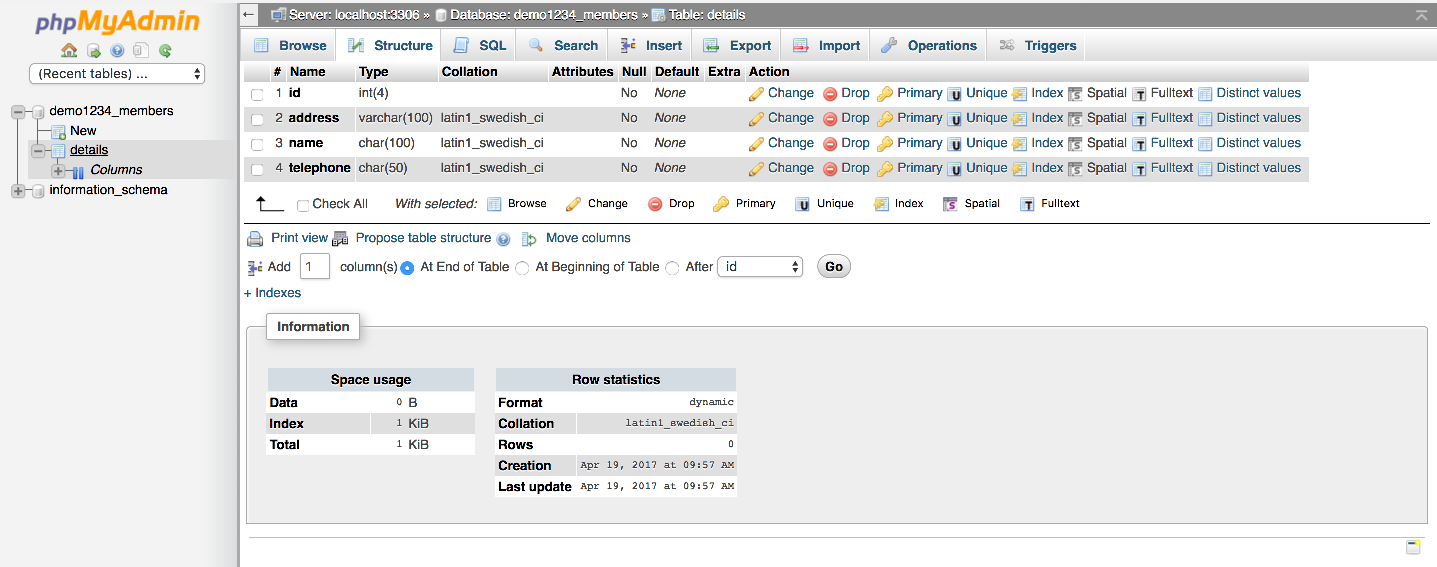 Modifying fields in database tables with phpMyAdmin - Kualo Limited