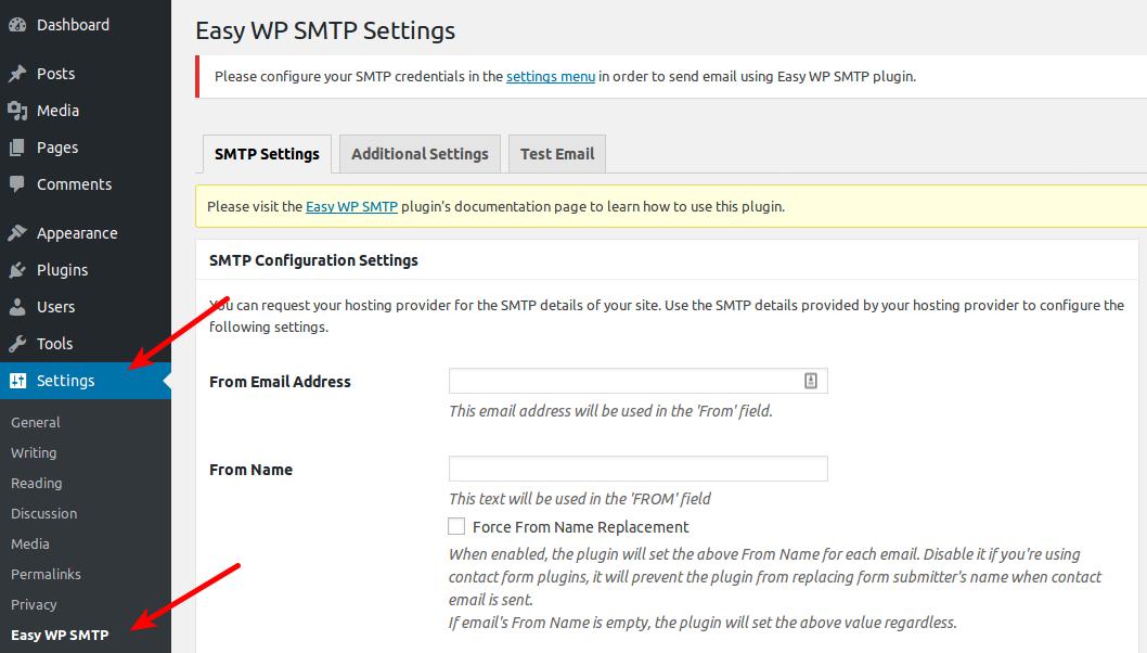 Settings for Easy WP SMTP