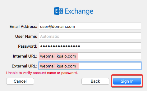 Setting up a Zimbra Exchange Email Address in Mac Mail